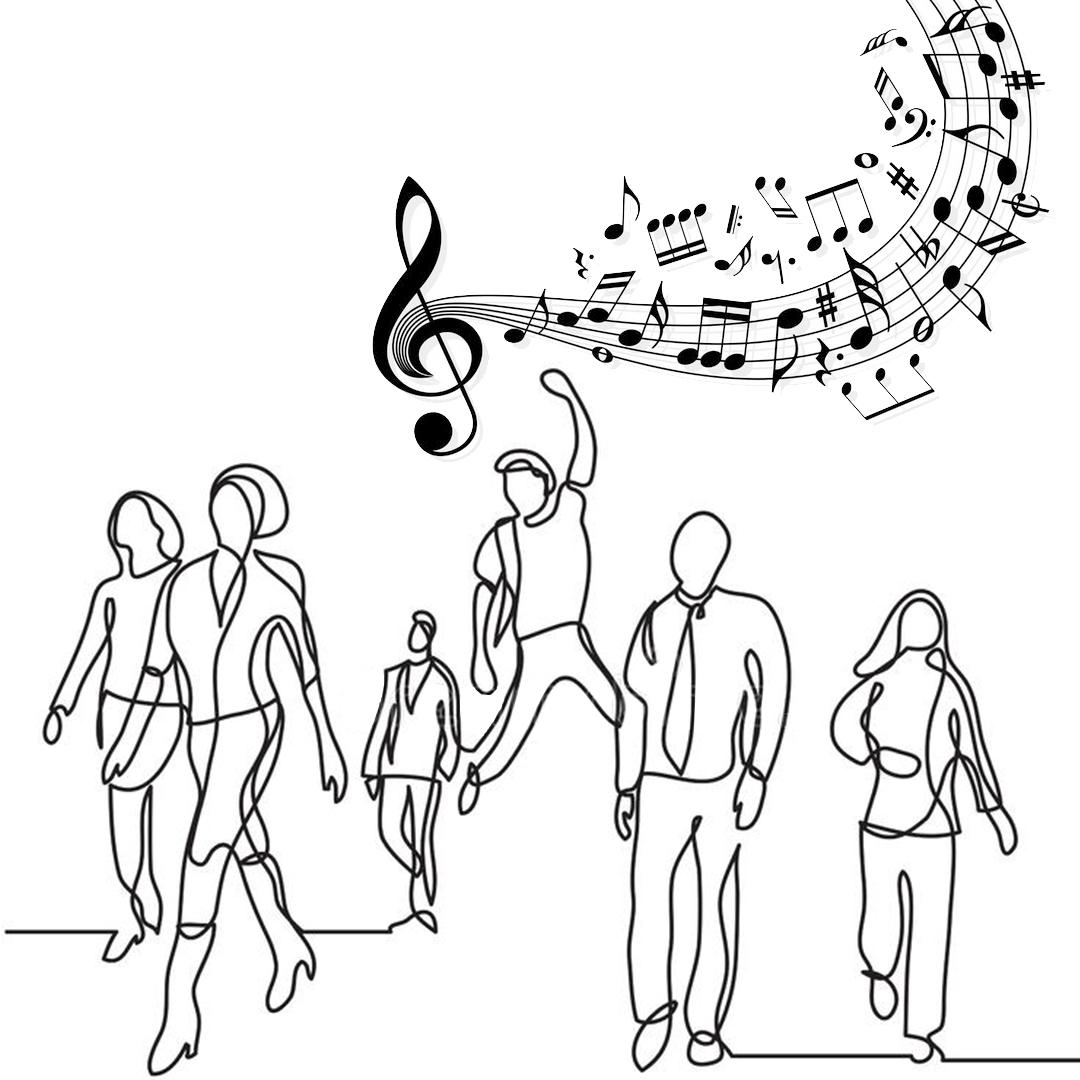 Personnages qui déambulent et parlent de musique